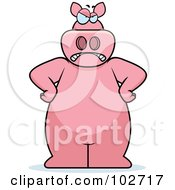 Royalty Free RF Clipart Illustration Of A Mad Pig With His Hands On His Hips by Cory Thoman