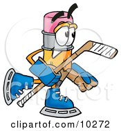 Pencil Mascot Cartoon Character Playing Ice Hockey