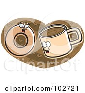 Royalty Free RF Clipart Illustration Of A Coffee Cup And Donut In Love On A Heart by Cory Thoman