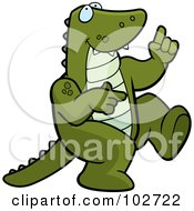 Royalty Free RF Clipart Illustration Of A Happy Dancing Dinosaur Or Alligator by Cory Thoman