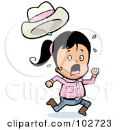Royalty Free RF Clipart Illustration Of A Running Little Cowgirl by Cory Thoman