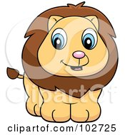 Royalty Free RF Clipart Illustration Of A Baby Lion Cub Smiling by Cory Thoman