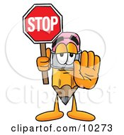Pencil Mascot Cartoon Character Holding A Stop Sign