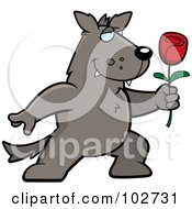 Royalty Free RF Clipart Illustration Of A Romantic Wolf Holding Out A Rose by Cory Thoman