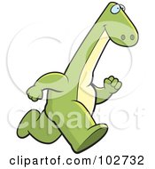 Royalty Free RF Clipart Illustration Of A Running Brontosaurus by Cory Thoman