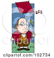 Cartoon Benjamin Franklin Doing A Kite Experiment