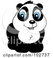 Royalty Free RF Clipart Illustration Of A Cute Blue Eyed Panda by Cory Thoman