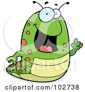 Royalty Free RF Clipart Illustration Of A Green Caterpillar Holding Up A Finger