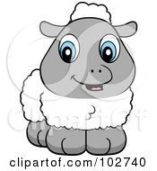 Royalty Free RF Clipart Illustration Of A Wooly Baby Lamb With Blue Eyes by Cory Thoman