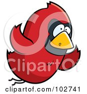 Royalty Free RF Clipart Illustration Of A Red Bird Flying by Cory Thoman