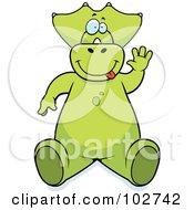 Royalty Free RF Clipart Illustration Of A Goofy Dinosaur Waving And Making A Funny Face