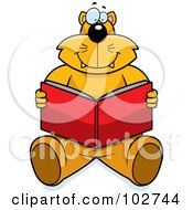 Royalty Free RF Clipart Illustration Of A Happy Orange Cat Sitting And Reading