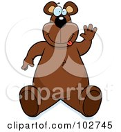 Royalty Free RF Clipart Illustration Of A Goofy Bear Making A Funny Face And Waving