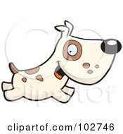 Royalty Free RF Clipart Illustration Of A Beige Dog With Spots Running