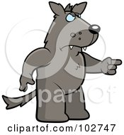 Royalty Free RF Clipart Illustration Of A Mad Pointing Wolf by Cory Thoman