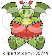 Royalty Free RF Clipart Illustration Of A Happy Reading Dragon by Cory Thoman