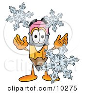 Pencil Mascot Cartoon Character With Three Snowflakes In Winter