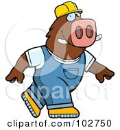 Royalty Free RF Clipart Illustration Of A Walking Builder Boar by Cory Thoman