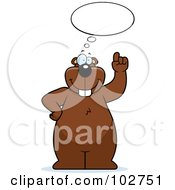 Royalty Free RF Clipart Illustration Of A Thinking Beaver Holding Up A Finger by Cory Thoman