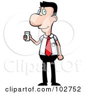 Royalty Free RF Clipart Illustration Of A Caucasian Businessman Holding A Glass Of Water by Cory Thoman