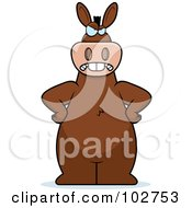 Royalty Free RF Clipart Illustration Of A Mad Donkey Standing With His Hands On His Hips by Cory Thoman