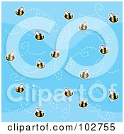 Royalty Free RF Clipart Illustration Of A Swarm Of Bees In A Blue Sky by Cory Thoman