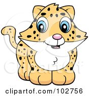 Royalty Free RF Clipart Illustration Of A Baby Jaguar Leopard Or Cheetah Smiling by Cory Thoman