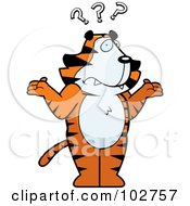 Royalty Free RF Clipart Illustration Of A Shrugging Confused Tiger by Cory Thoman