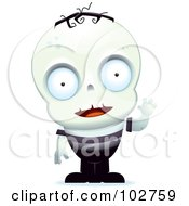 Royalty Free RF Clipart Illustration Of A Little Zombie Boy Waving by Cory Thoman