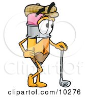 Pencil Mascot Cartoon Character Leaning On A Golf Club While Golfing