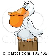 Royalty Free RF Clipart Illustration Of A White Pelican Resting On A Post by Cory Thoman