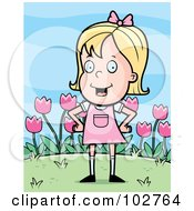 Royalty Free RF Clipart Illustration Of A Little Blond Girl In Pink Her Hands On Her Hips In Front Of Tulips