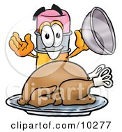 Pencil Mascot Cartoon Character Serving A Thanksgiving Turkey On A Platter by Toons4Biz