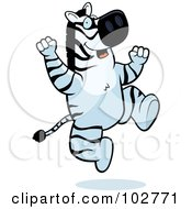 Royalty Free RF Clipart Illustration Of A Happy Jumping Zebra