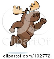 Royalty Free RF Clipart Illustration Of A Happy Leaping Moose