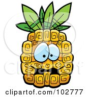 Royalty Free RF Clipart Illustration Of A Scared Pineapple by Cory Thoman