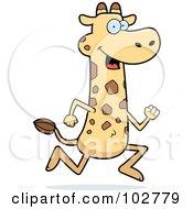 Royalty Free RF Clipart Illustration Of A Happy Running Giraffe by Cory Thoman
