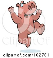 Royalty Free RF Clipart Illustration Of A Happy Jumping Hippo