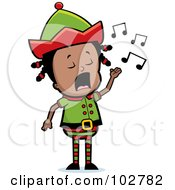 Royalty Free RF Clipart Illustration Of A Little Black Elf Girl Singing by Cory Thoman