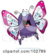 Royalty Free RF Clipart Illustration Of A Happy Purple Butterfly by Cory Thoman