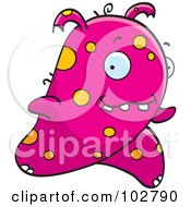 Royalty Free RF Clipart Illustration Of A Running Pink And Orange Alien by Cory Thoman