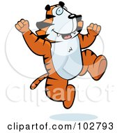 Royalty Free RF Clipart Illustration Of A Happy Jumping Tiger