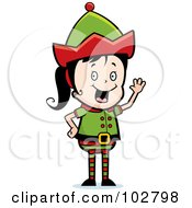 Royalty Free RF Clipart Illustration Of A Waving Elf Girl by Cory Thoman