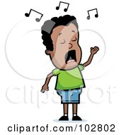 Royalty Free RF Clipart Illustration Of A Singing Black Boy