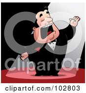 Royalty Free RF Clipart Illustration Of A Spotlight Shining On A Man Singing Opera