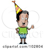Royalty Free RF Clipart Illustration Of A Black Party Boy Holding A Drink