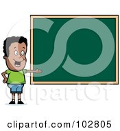 Royalty Free RF Clipart Illustration Of A Black School Boy Presenting A Chalk Board by Cory Thoman