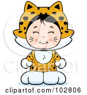 Royalty Free RF Clipart Illustration Of A Cute Asian Girl In A Jaguar Costume by Cory Thoman