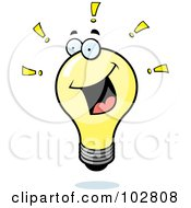 Royalty Free RF Clipart Illustration Of A Bright Lightbulb With Exclamation Points