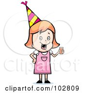 Royalty Free RF Clipart Illustration Of A Happy Party Girl Holding A Drink by Cory Thoman